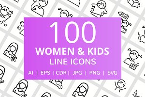 100 Women & Kids Line Icons