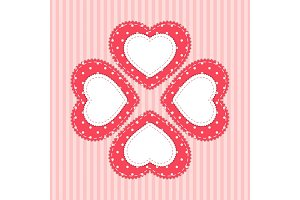 Cute card template with heart as retro fabric applique in shabby chic style