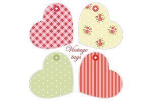 Cute hearts as retro fabric applique in shabby chic style