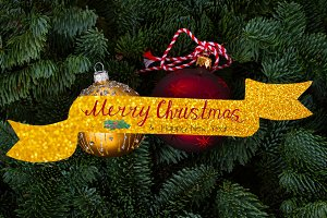 Christmas background with evergreen tree