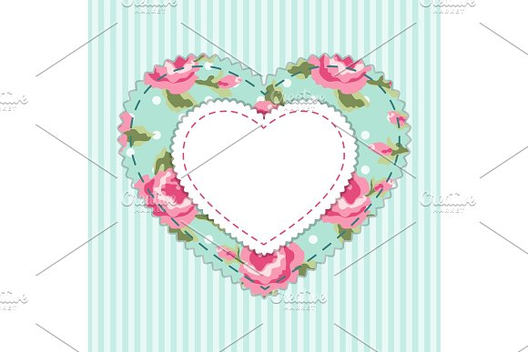 Cute card template with heart as retro fabric applique in shabby