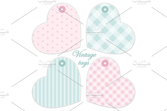 Cute hearts as retro fabric applique in shabby chic style ~ textures