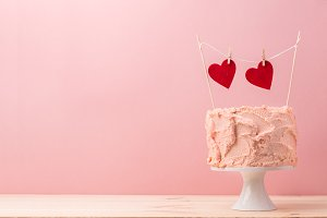 Romantic served cake with hearts