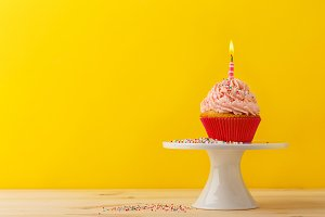Decorated birthday cupcake candle
