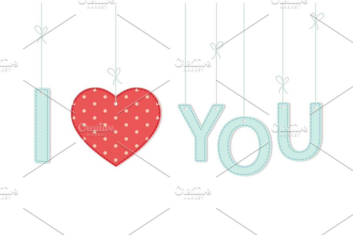 Cute vintage Valentine's Day card I Love You as textile letters and heart in shabby chic style