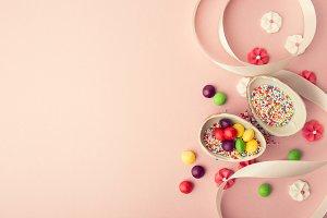Sweet chocolate eggs in arrangement