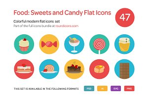 Food: Sweets and Candy Flat Icons