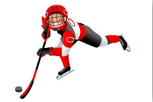 Hockey Vector Cartoon Boy Icon