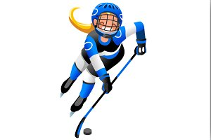 Hockey Vector Cartoon Girl Icon
