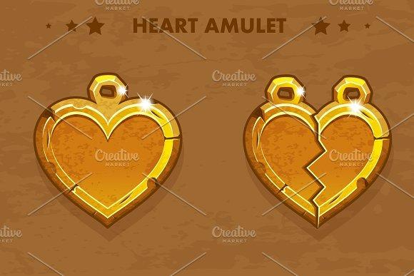 Vector Illustration cartoon golden heart love amulets