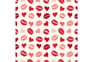 Cute primitive retro seamless pattern with hearts and kisses