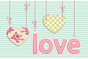 Vintage letters LOVE with hearts in shabby chic style with strings