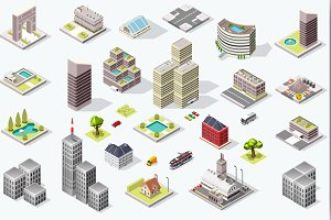 Isometric City Quality Vector Set