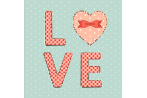 Vintage letters LOVE with hearts in shabby chic style