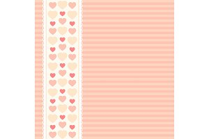Cute primitive retro background with hearts