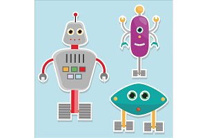 Funny robots stickers