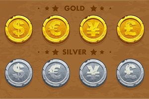 Gold and silver old Dollar, Euro, Pound and Yen coins.