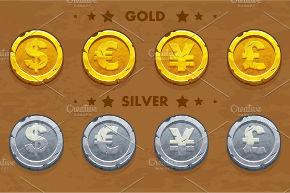 Gold and silver old Dollar, Euro, Pound and Yen coins. in Objects