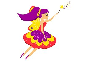 Flying fairy flapping wand