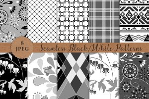 BLACK WHITE seamless patterns set