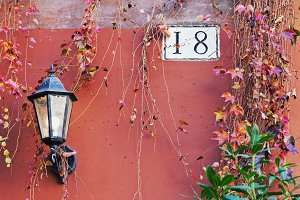 Rome street lamp and house number