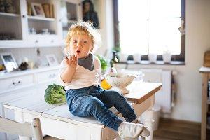 Toddler boy in the kitchen.