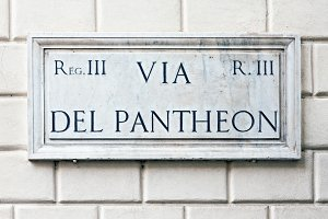 Marble street name sign in Rome