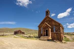 Wooden church in Bodie ghost town, California