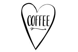 Coffee word in lettering in heart