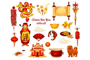 Chinese Lunar New Year holiday icon design