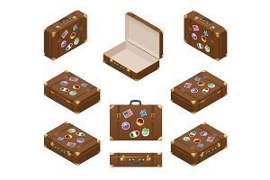 Isometric set of Travel Suitcases with stickers