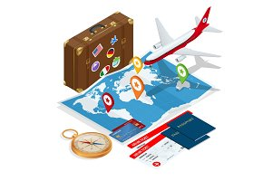 Airplane passport flight travel traveller fly travelling citizenship air concept Travel and tourism background. Flat isometric vector illustration.