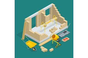 Isometric construction of a brick house. House building process vector illustration. Constructing home with tools and materials.