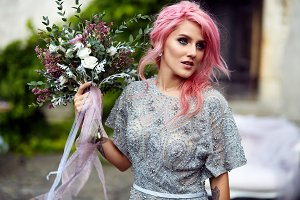 Stunning woman with pink hair