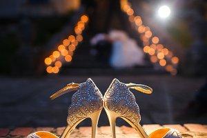 Light shines over elegant shoes