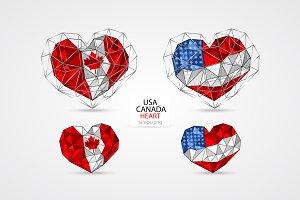 USA. CANADA. HEART.