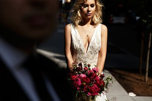 Sexy bride looks down