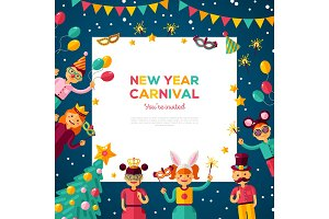 Children New year carnival party with square frame