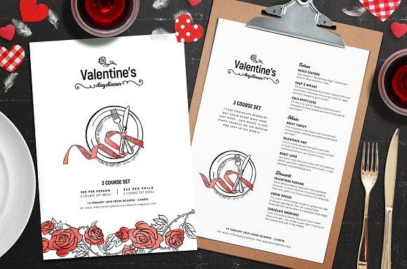 Valentines Menu Template Flyer Templates Creative Market