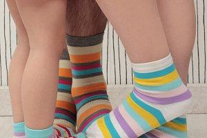 Family in socks
