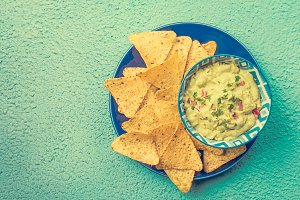 Mexican nachos with guacamole