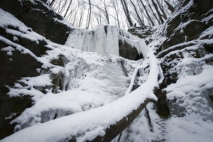 Icicles on waterfall in winter