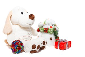 Christmas dog and snowman