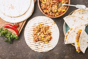 Homemade beef meat fajitas