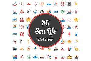 80 Flat Icons Set of Sea Life