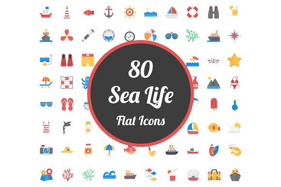 80 Flat Icons Set Of Sea Life