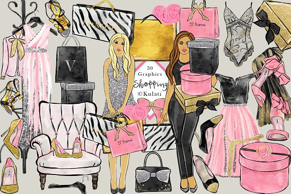 Glam Shopping Clip Art Images