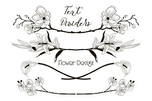 Vector Black Floral Text Dividers. Flower Design Elements