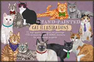 Hand-painted Cats Clip-Art