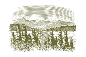 Woodcut Vintage Wilderness